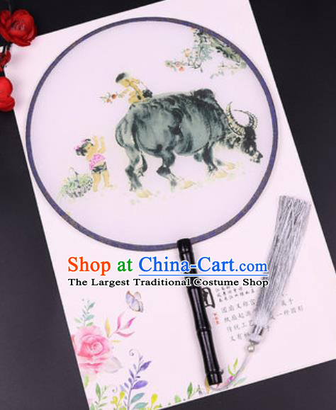 Chinese Traditional Printing Cattle Round Fans Handmade Classical Dance Ebony Palace Fan for Women