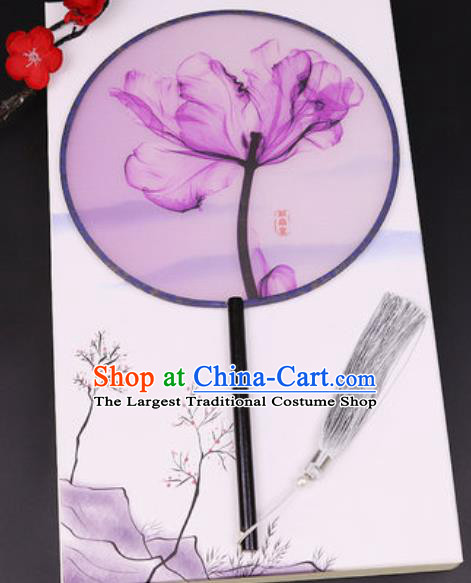Chinese Traditional Printing Purple Leaf Round Fans Handmade Classical Dance Ebony Palace Fan for Women