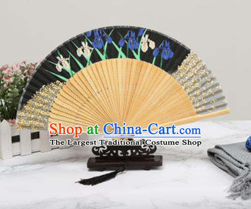 Chinese Traditional Printing Orchids Black Silk Fan Classical Dance Accordion Fans Folding Fan