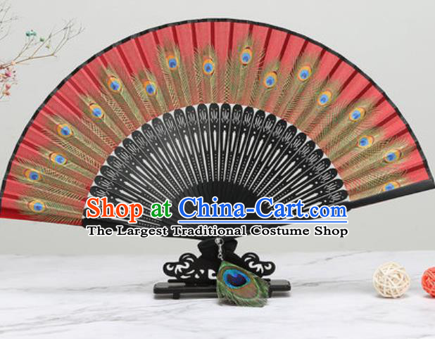 Chinese Traditional Printing Peacock Feather Red Silk Fan Classical Dance Accordion Fans Folding Fan