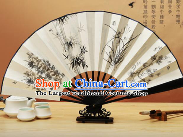 Chinese Traditional Hand Painting Plum Orchid Bamboo Chrysanthemum Paper Fan Classical Dance Accordion Fans Folding Fan