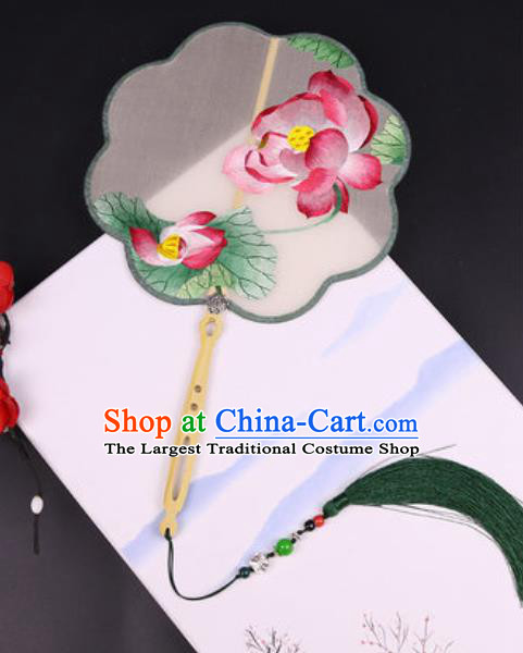 Handmade Chinese Embroidered Lotus Silk Fans Traditional Classical Dance Palace Fan for Women