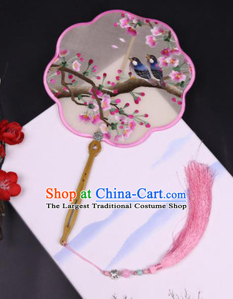 Handmade Chinese Embroidered Begonia Silk Fans Traditional Classical Dance Palace Fan for Women
