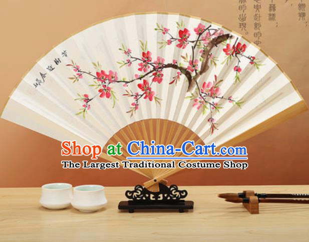 Chinese Traditional Hand Painting Peach Blossom Paper Fan Classical Dance Accordion Fans Folding Fan