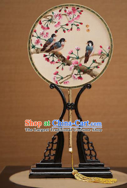 Handmade Chinese Embroidered Begonia Birds Silk Round Fans Traditional Classical Dance Palace Fan for Women