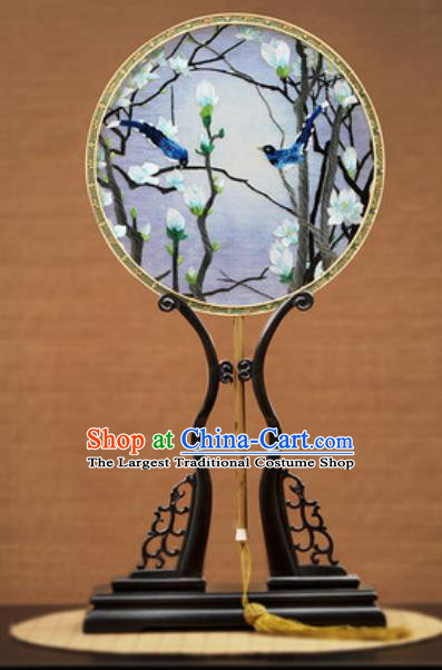 Handmade Chinese Embroidered Mangnolia Birds Silk Round Fans Traditional Classical Dance Palace Fan for Women