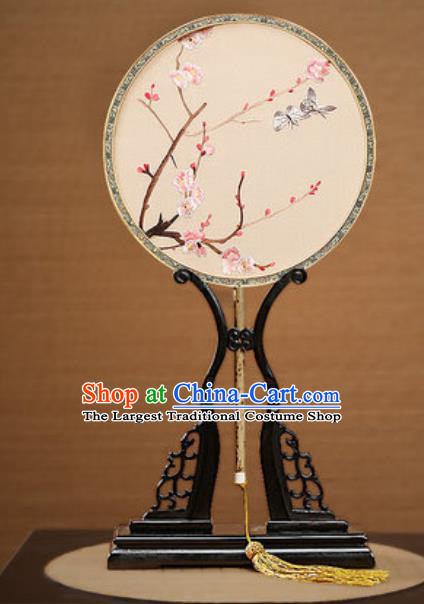 Handmade Chinese Embroidered Plum Butterfly Silk Round Fans Traditional Classical Dance Palace Fan for Women
