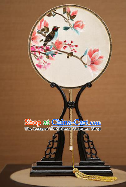 Handmade Chinese Embroidered Mangnolia Silk Round Fans Traditional Classical Dance Palace Fan for Women