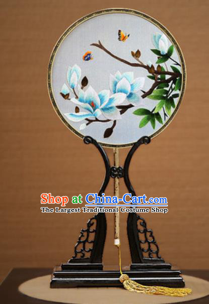 Handmade Chinese Embroidered Blue Mangnolia Silk Round Fans Traditional Classical Dance Palace Fan for Women