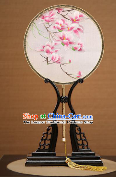 Handmade Chinese Embroidered Pink Mangnolia Silk Round Fans Traditional Classical Dance Palace Fan for Women