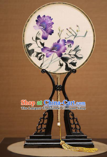 Handmade Chinese Embroidered Purple Flower Silk Round Fans Traditional Classical Dance Palace Fan for Women