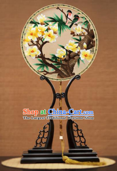 Handmade Chinese Embroidered Yellow Mangnolia Silk Round Fans Traditional Classical Dance Palace Fan for Women