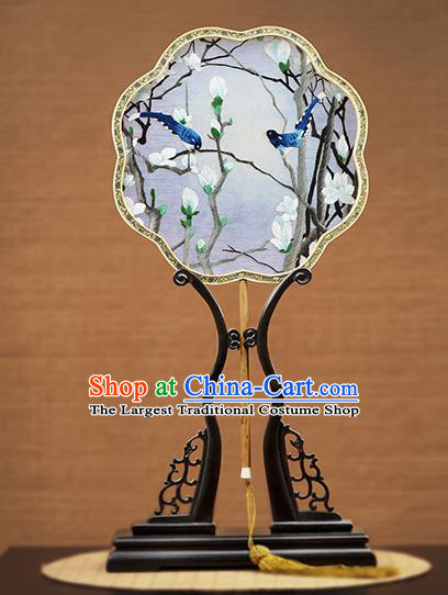 Handmade Chinese Embroidered Mangnolia Blue Silk Fans Traditional Classical Dance Palace Fan for Women