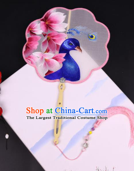 Handmade Chinese Embroidered Mangnolia Peacock Silk Fans Traditional Classical Dance Palace Fan for Women