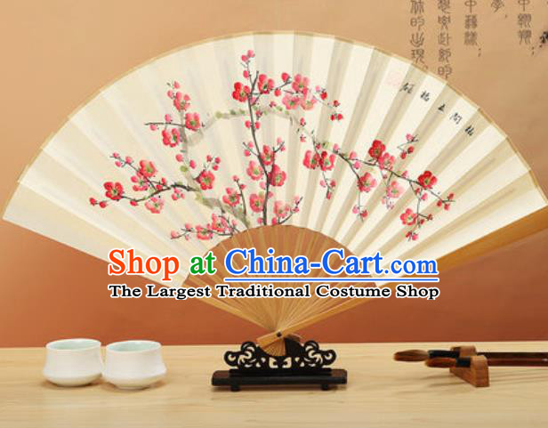 Chinese Hand Painting Plum Blossom Paper Fan Traditional Classical Dance Accordion Fans Folding Fan