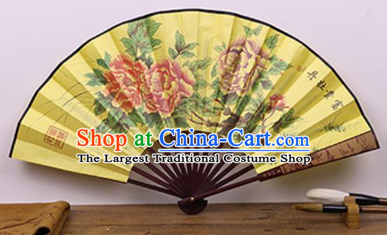 Handmade Chinese Painting Peony Yellow Fan Traditional Classical Dance Accordion Fans Folding Fan
