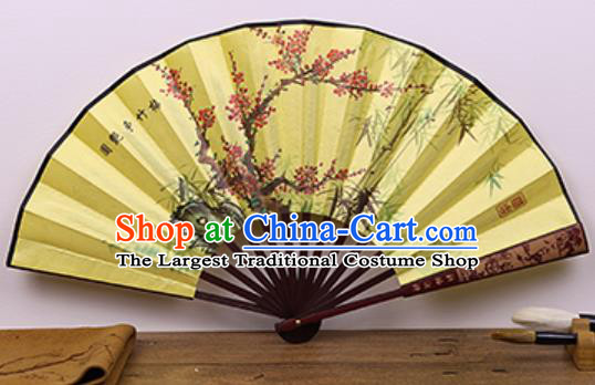 Handmade Chinese Painting Plum Bamboo Yellow Fan Traditional Classical Dance Accordion Fans Folding Fan