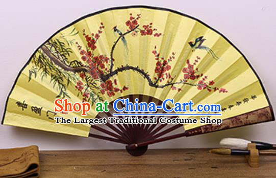 Handmade Chinese Ink Painting Plum Bamboo Yellow Fan Traditional Classical Dance Accordion Fans Folding Fan