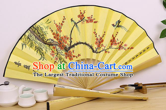 Handmade Chinese Ink Painting Plum Bamboo Birds Yellow Fan Traditional Classical Dance Accordion Fans Folding Fan