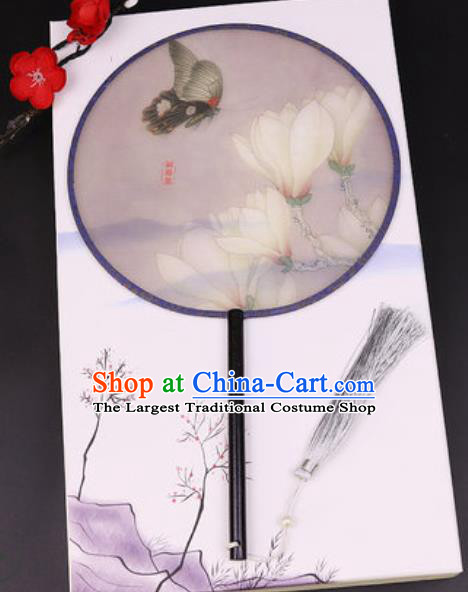 Handmade Chinese Printing Mangnolia Grey Silk Fans Traditional Classical Dance Palace Fan for Women