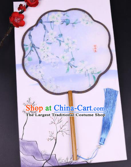 Handmade Chinese Printing Pear Flower Silk Fans Traditional Classical Dance Palace Fan for Women