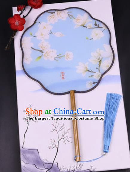 Handmade Chinese Printing Mangnolia Blue Silk Fans Traditional Classical Dance Palace Fan for Women