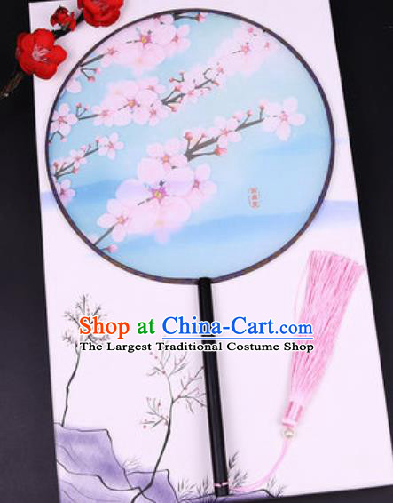 Handmade Chinese Printing Peach Blossom Blue Silk Fans Traditional Classical Dance Palace Fan for Women