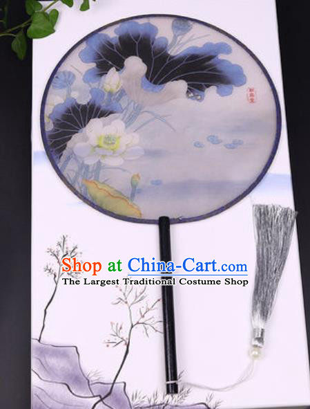 Handmade Chinese Printing Lotus Grey Silk Fans Traditional Classical Dance Palace Fan for Women