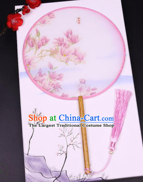Handmade Chinese Printing Mangnolia Pink Silk Fans Traditional Classical Dance Palace Fan for Women