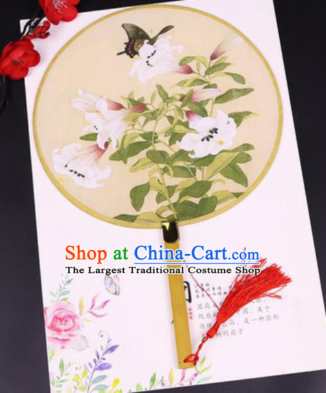 Chinese Traditional Printing Butterfly Flowers Yellow Silk Fans Handmade Classical Dance Palace Fan for Women
