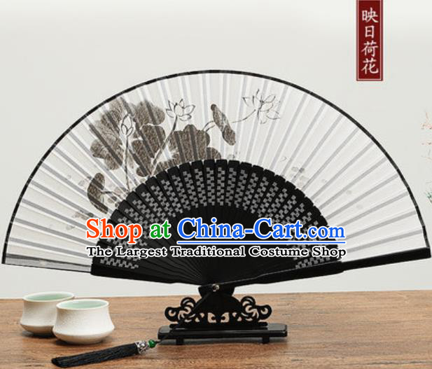 Chinese Traditional Ink Painting Lotus Fan Handmade Accordion Classical Dance Fans Folding Fan