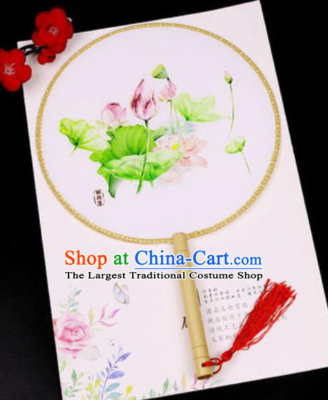 Chinese Traditional Printing Lotus Silk Fans Handmade Classical Dance Palace Fan for Women