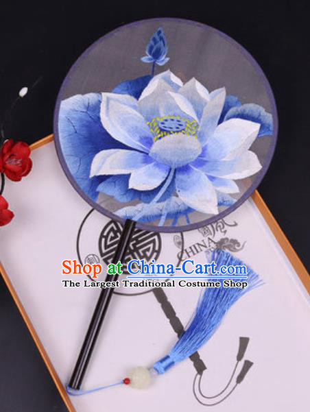 Handmade Chinese Embroidered Blue Lotus Silk Fans Traditional Classical Dance Palace Fan for Women