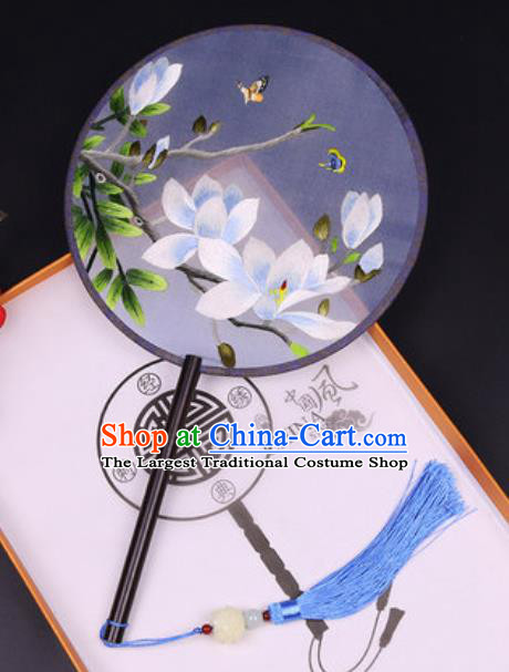 Handmade Chinese Embroidered Blue Mangnolia Silk Fans Traditional Classical Dance Palace Fan for Women