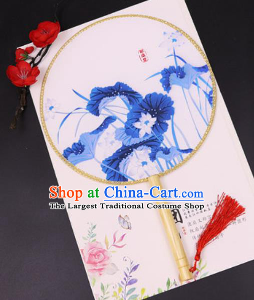 Chinese Traditional Printing Blue Lotus Silk Fans Handmade Classical Dance Palace Fan for Women