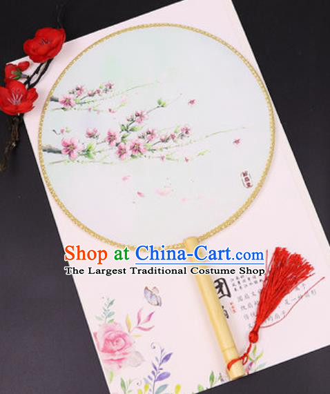 Chinese Traditional Printing Peach Blossom Silk Fans Handmade Classical Dance Palace Fan for Women