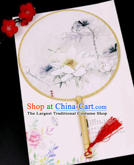 Chinese Traditional Printing White Lotus Silk Fans Handmade Classical Dance Palace Fan for Women