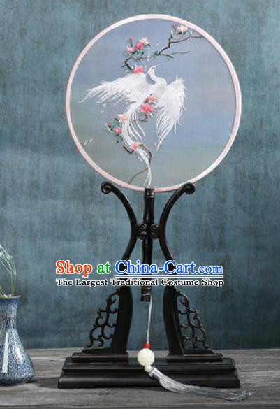 Handmade Chinese Embroidered White Phoenix Ebony Silk Fans Traditional Classical Dance Palace Fan for Women