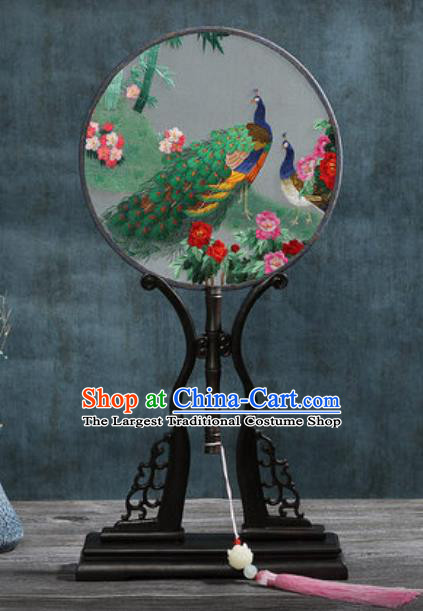 Handmade Chinese Embroidered Peacock Peony Ebony Silk Fans Traditional Classical Dance Palace Fan for Women