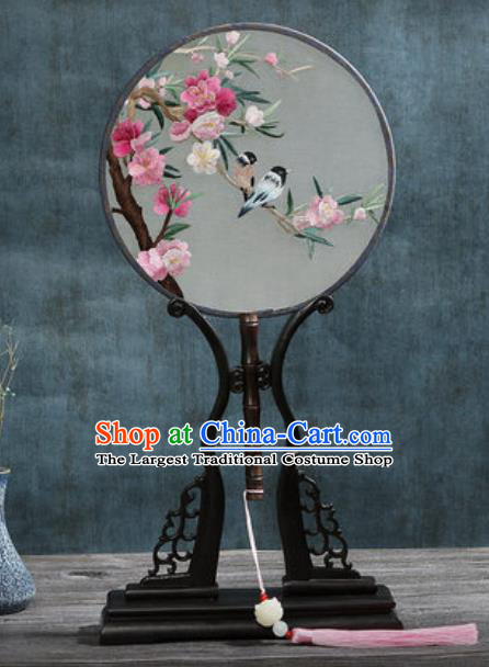 Handmade Chinese Embroidered Begonia Birds Ebony Silk Fans Traditional Classical Dance Palace Fan for Women