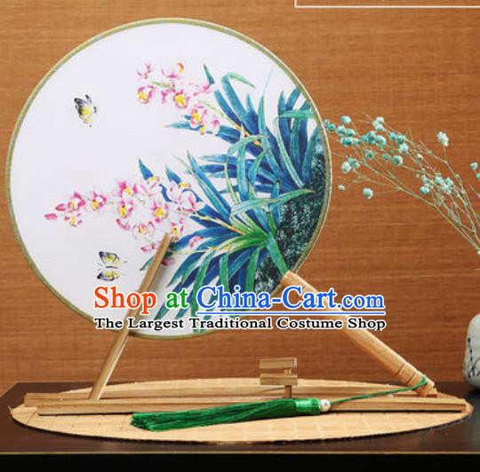 Handmade Chinese Printing Butterfly Orchid Round Fans Traditional Classical Dance Red Beech Palace Fan for Women