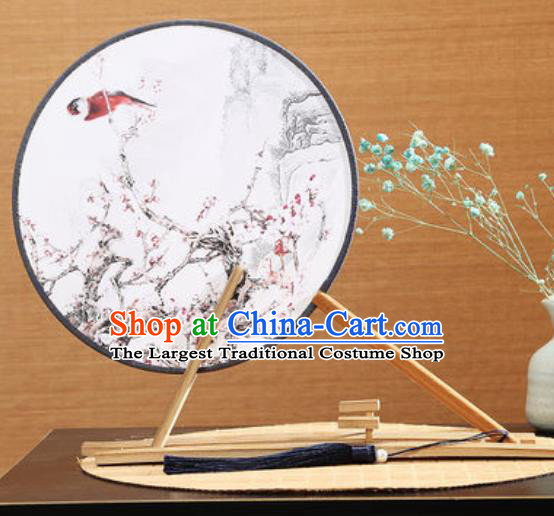 Handmade Chinese Printing Plum Blossom Round Fans Traditional Classical Dance Red Beech Palace Fan for Women