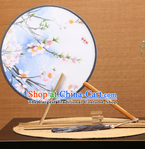 Handmade Chinese Printing Peach Blossom Blue Round Fans Traditional Classical Dance Red Beech Palace Fan for Women