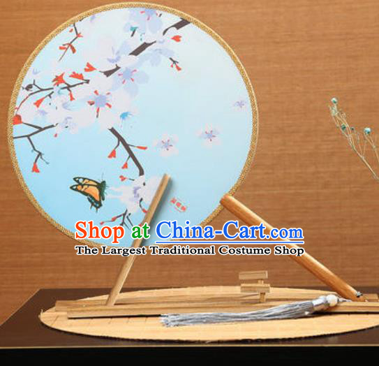 Handmade Chinese Printing Pear Flowers Blue Round Fans Traditional Classical Dance Red Beech Palace Fan for Women
