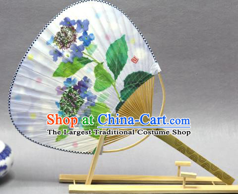 Handmade Chinese Printing Blue Flowers Paper Fans Traditional Classical Dance Palace Fan for Women