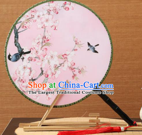 Handmade Chinese Printing Peach Blossom Pink Palace Fans Traditional Classical Dance Round Fan for Women