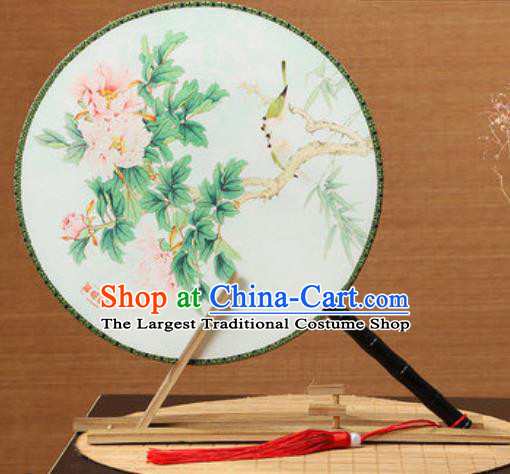 Handmade Chinese Printing Peony Light Green Palace Fans Traditional Classical Dance Round Fan for Women