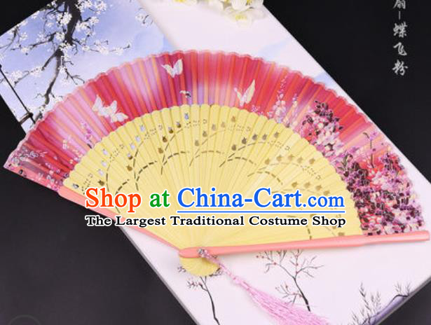 Handmade Chinese Butterfly Pink Cotton Fan Traditional Classical Dance Accordion Fans Folding Fan