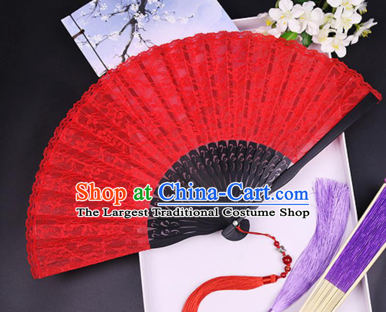 Handmade Chinese Red Lace Fan Traditional Classical Dance Accordion Fans Folding Fan