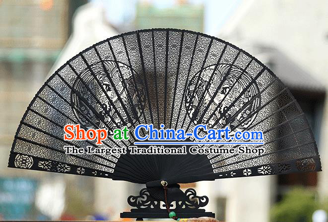 Handmade Chinese Carving Round Phoenix Ebony Fan Traditional Classical Dance Accordion Fans Folding Fan